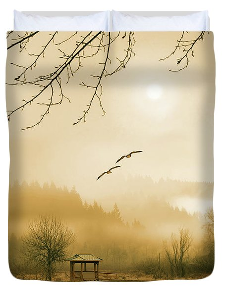 Foggy Lake And Three Couple Of Birds Duvet Cover