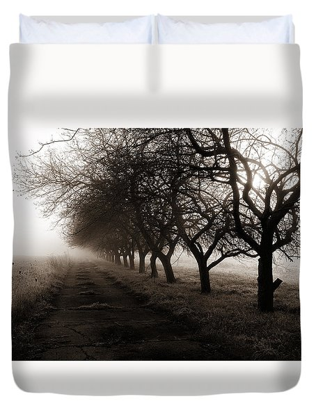 Foggy Lane Duvet Cover