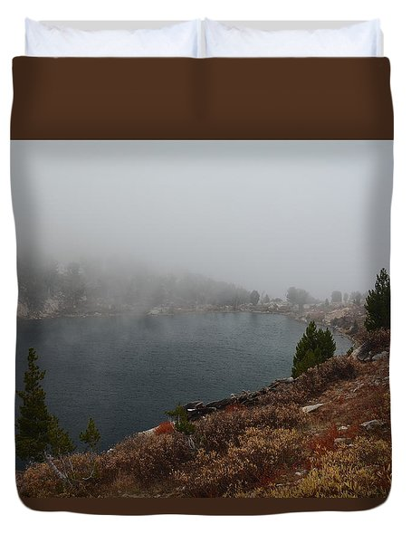 Foggy Liberty Lake Duvet Cover