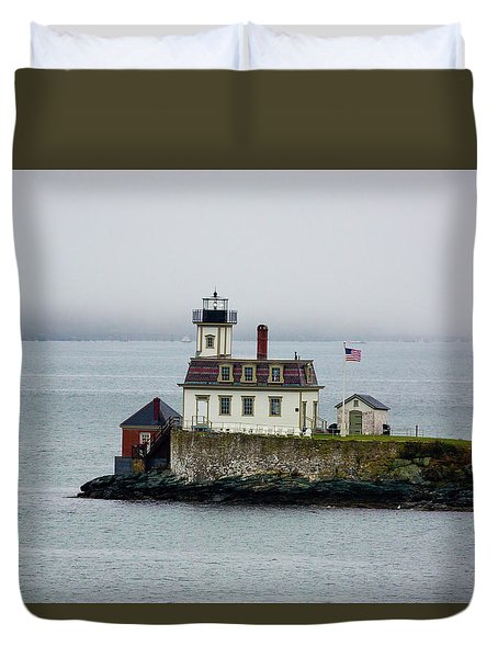 Foggy Lighthouse Duvet Cover
