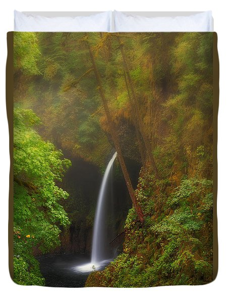 Foggy Metlako Falls Duvet Cover by David Gn