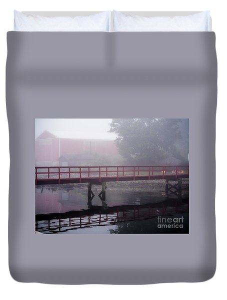 Foggy Morning At The Bridge Duvet Cover