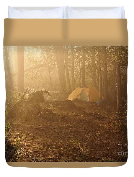 Duvet Cover featuring the photograph Foggy Morning At The Campsite by Larry Ricker