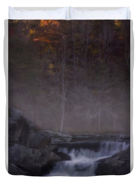 Duvet Cover featuring the photograph Foggy Morning At Linville Falls by Ellen Heaverlo