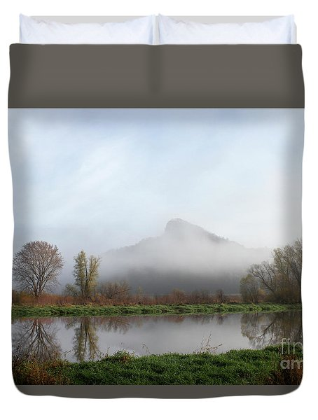 Foggy Morning Bluff Duvet Cover by Inspired Arts