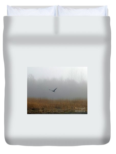 Foggy Morning Heron In Flight Duvet Cover by Helen Campbell
