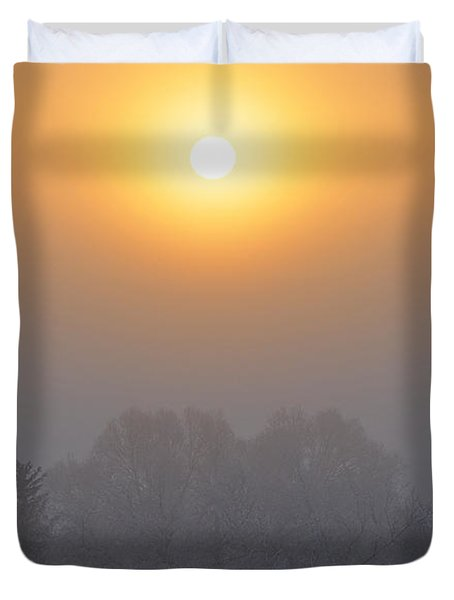 Foggy Morning In Montana's Gallatin Valley Duvet Cover
