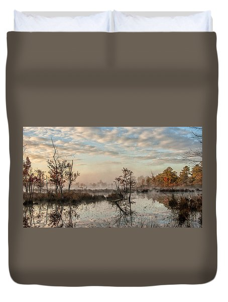 Foggy Morning In The Pines Duvet Cover