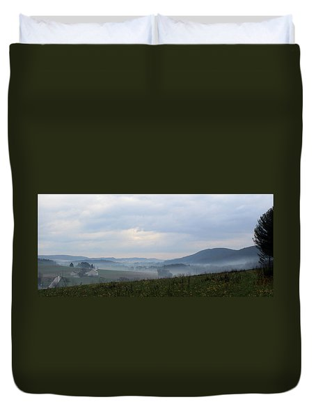 Foggy Morning In The Valley Duvet Cover by Liz Allyn