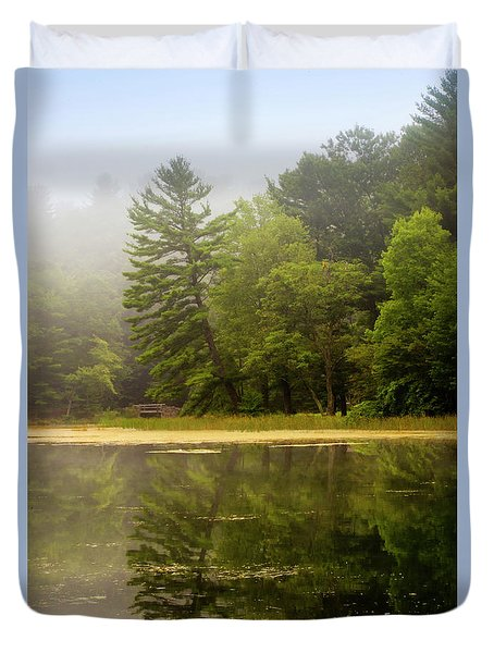 Foggy Morning Lake Reflection Duvet Cover