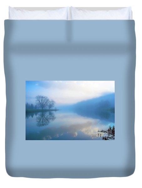 Duvet Cover featuring the photograph Foggy Morning Lake Sunrise II by Randy Steele