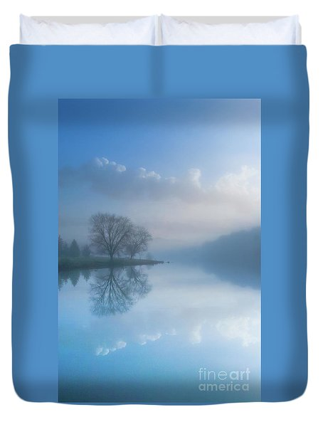 Duvet Cover featuring the photograph Foggy Morning Lake Sunrise by Randy Steele