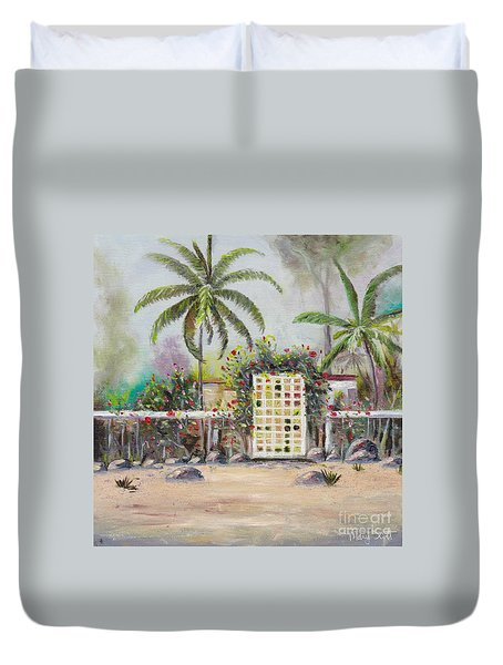 Duvet Cover featuring the painting Foggy Morning by Mary Scott