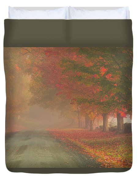 Foggy Morning On Cloudland Road Duvet Cover