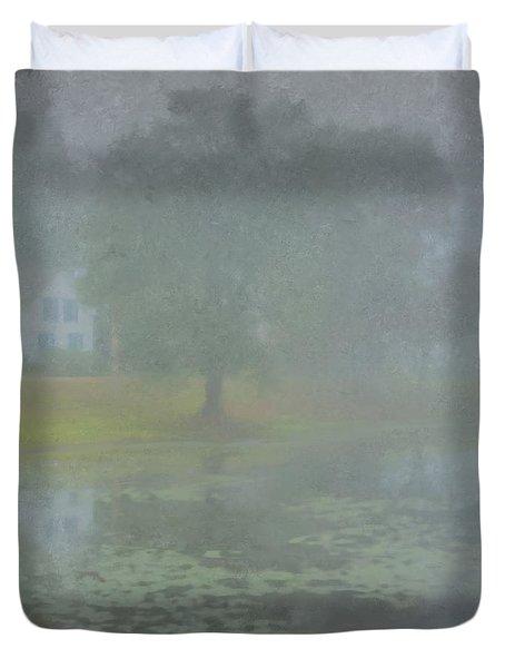 Foggy Morning On Pond Street Duvet Cover