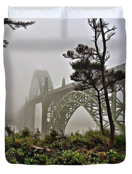 A Foggy Morning On Yaquina Bay Duvet Cover
