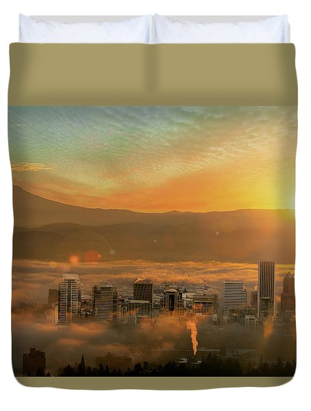 Foggy Morning Over Portland Cityscape During Sunrise Duvet Cover by David Gn