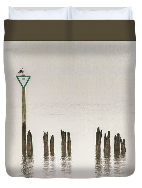 Duvet Cover featuring the photograph Foggy Morning Texture Keyport Harbor by Gary Slawsky