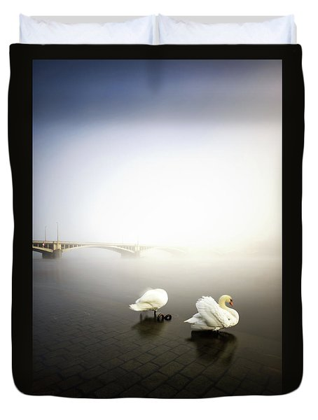 Foggy Morning View Near Bridge With Two Swans At Vltava River, Prague, Czech Republic Duvet Cover
