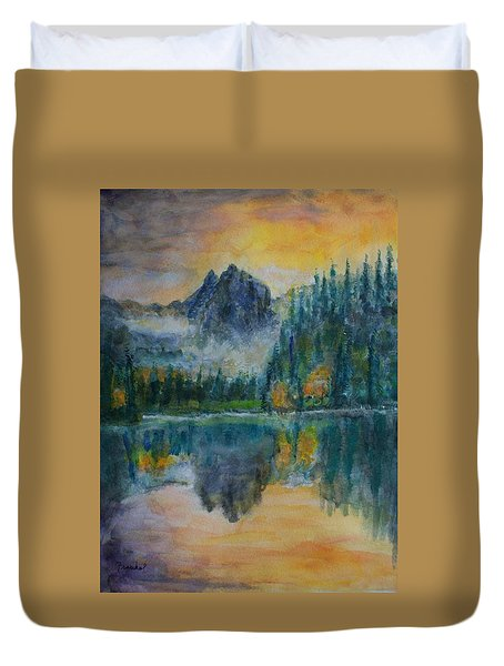 Foggy Mountain Lake Duvet Cover by David Frankel