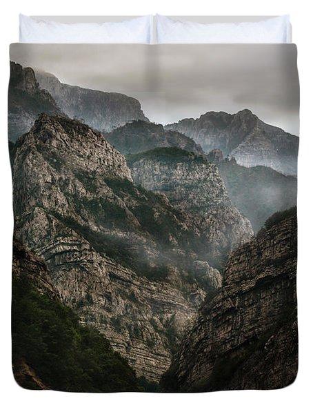 Foggy Mountains Over Neretva Gorge Duvet Cover
