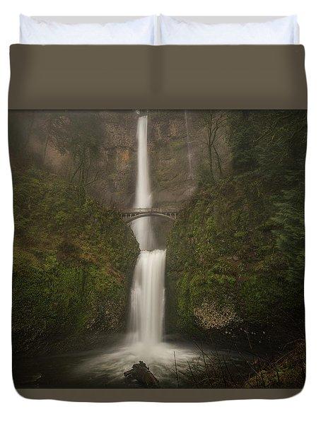 Foggy Multnomah Falls Duvet Cover