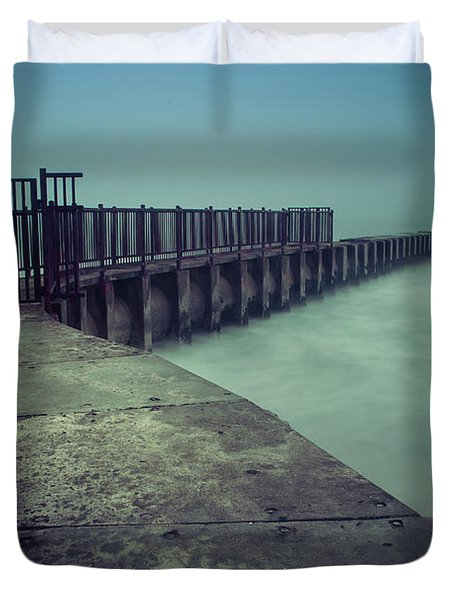 Foggy Night At Toes Beach Duvet Cover