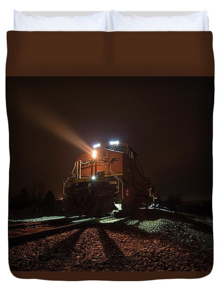 Duvet Cover featuring the photograph Foggy Night Train  by Aaron J Groen