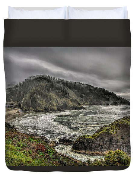 Foggy Oregon Coast Duvet Cover