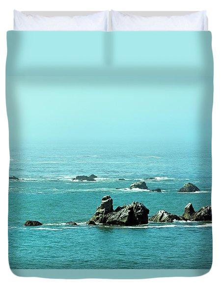 Sunny Blue Pacific Ocean Along The Oregon Coast Duvet Cover