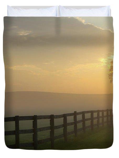 Foggy Pasture Sunrise Duvet Cover