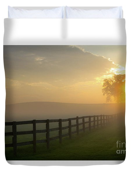 Duvet Cover featuring the photograph Foggy Pasture Sunrise by Steven Frame