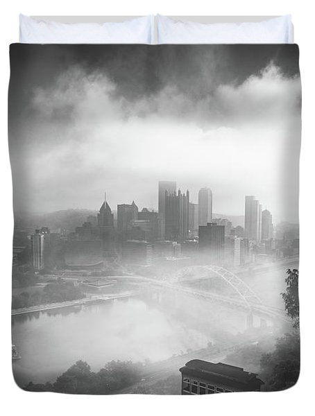Duvet Cover featuring the photograph Foggy Pittsburgh  by Emmanuel Panagiotakis