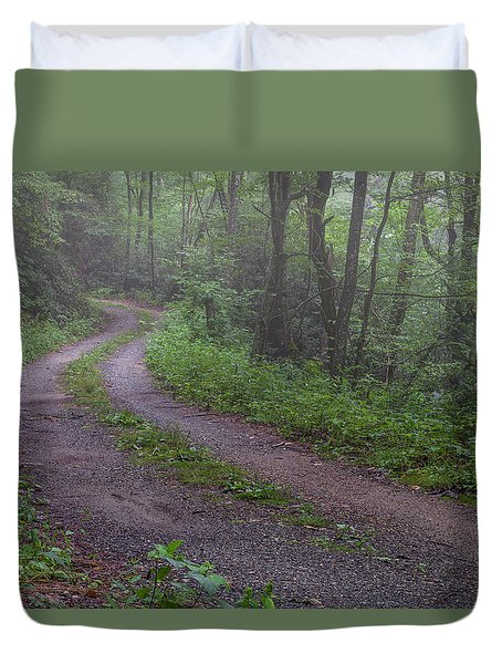 Foggy Road Duvet Cover by David Cote