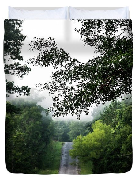 Duvet Cover featuring the photograph Foggy Road To Eternity  by Shelby Young