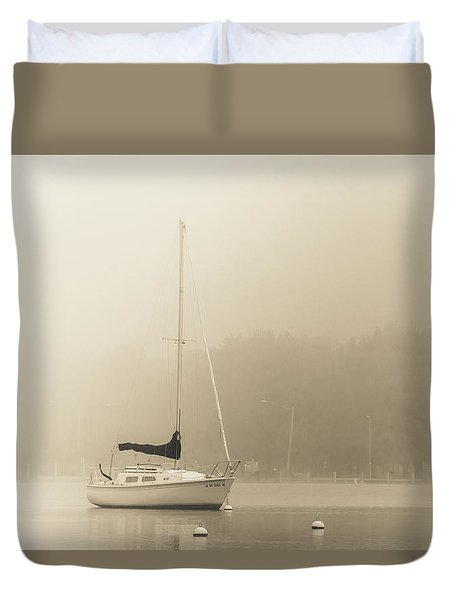 Duvet Cover featuring the photograph Foggy Sail by Joel Witmeyer
