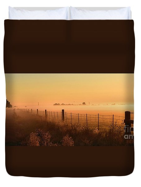 Foggy Sunrise On Hawkins Rd Duvet Cover