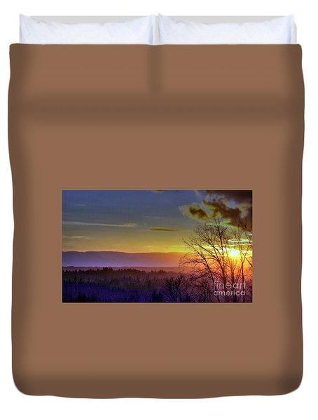 Foggy Sunset Duvet Cover by Victor K