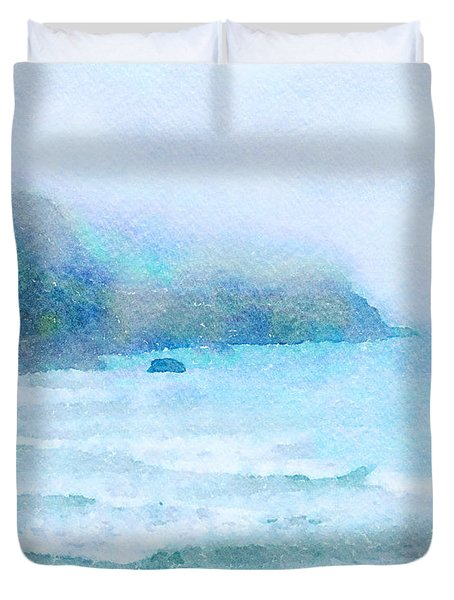 Duvet Cover featuring the painting Foggy Surf by Angela Treat Lyon