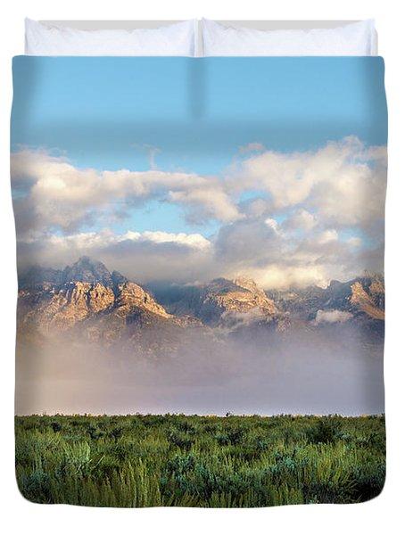 Foggy Teton Sunrise - Grand Tetons National Park Wyoming Duvet Cover