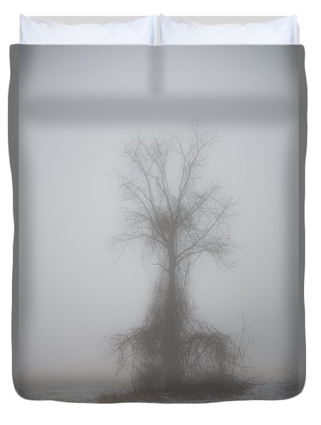 Duvet Cover featuring the photograph Foggy Walnut by Wanda Krack