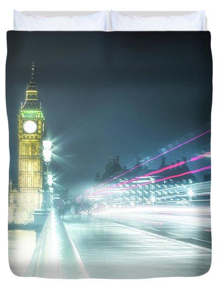 Foggy Westminster Bridge Duvet Cover