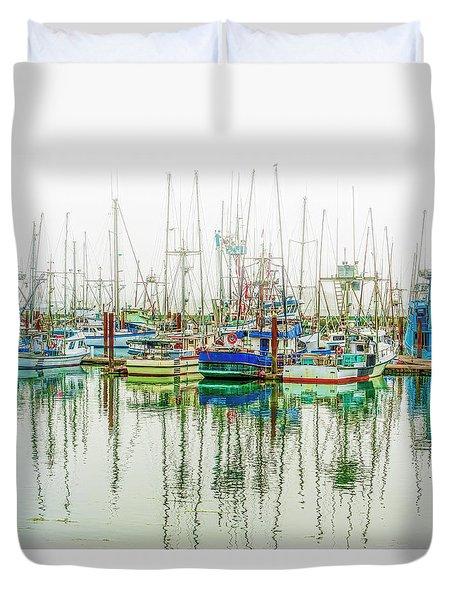 Foggy Wet Harbor Duvet Cover