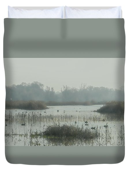 Foggy Wetlands Duvet Cover