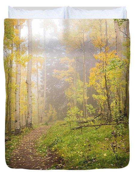 Foggy Winsor Trail Aspens In Autumn 2 - Santa Fe National Forest New Mexico Duvet Cover