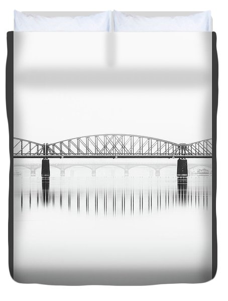 Foggy Winter Mood At Vltava River. Reflection Of Bridges In Water. Black And White Atmosphere, Prague, Czech Republic Duvet Cover