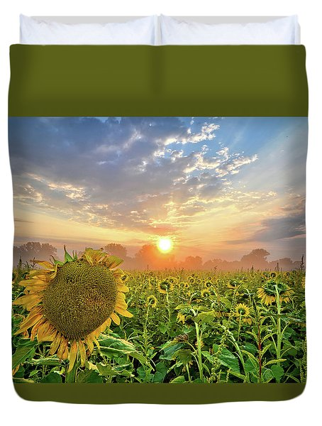 Foggy Yellow Fields Duvet Cover