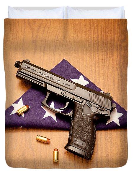 Folded Flag And Pistol 01 Duvet Cover