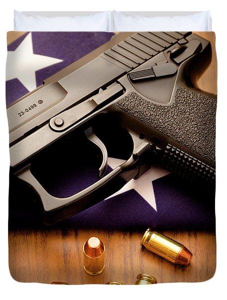 Folded Flag And Pistol 02 Duvet Cover