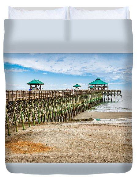 Foley Beach Pier Duvet Cover by Doug Long